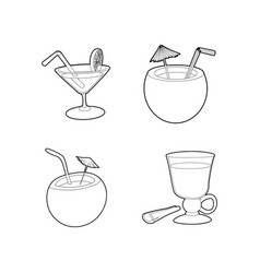 cocktail icon set outline style vector image