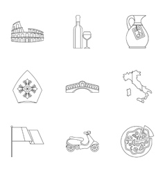 Country Italy icons set outline style vector image