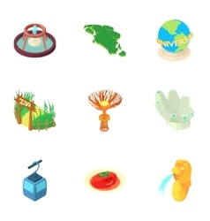 Country Singapore icons set cartoon style vector