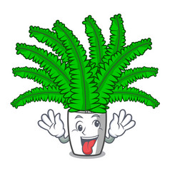 Crazy fresh fern branch isolated on mascot vector