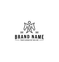 Creative human and horse logo design vector