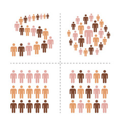 crowd with different skin colors icon set vector image