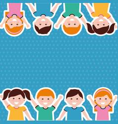 cute cartoon kids people border vector image