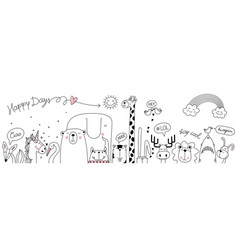 cute cartoon sketch animals for t-shirt print vector image