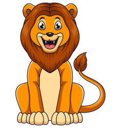 cute lion cartoon sitting on white background vector image