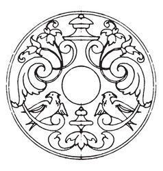 Decoration of escutcheons strap-work frame was vector