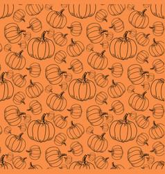 different pumpkin sizes on an orange background vector image
