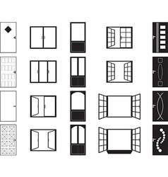 Door and window silhouettes vector image