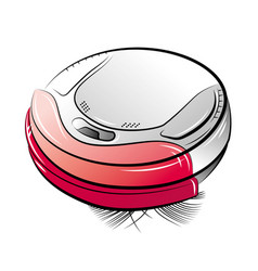 Drawing red robotic vacuum cleaner vector
