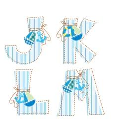 Fabric patchwork alphabet letter j k l m vector
