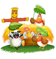 farm theme background with animals vector image