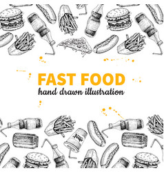 fast food hand drawn frame hand drawn junk vector image