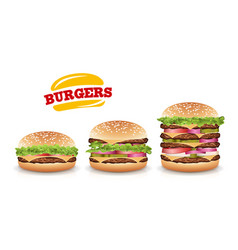 fast food realistic burger set hamburger vector image