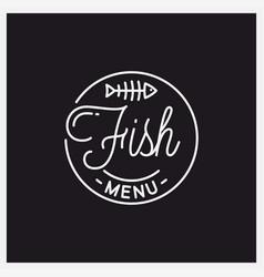 fish menu logo round linear logo bones vector image