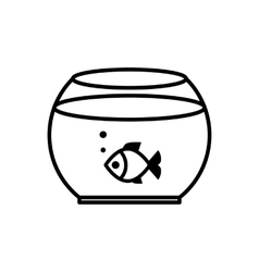 Fish swimming in a fish bowl vector