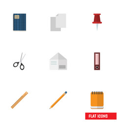 flat icon tool set of notepaper letter clippers vector image vector image