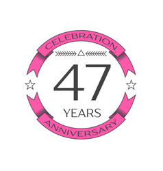 forty seven years anniversary celebration logo vector image