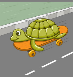 funny cartoon turtle riding skateboard on the road vector image