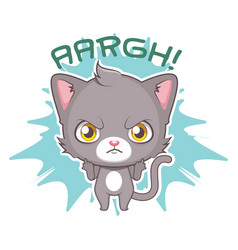 funny sticker with cute gray cat - angry at vector image