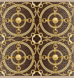 golden chains and ribbons seamless pattern on vector image