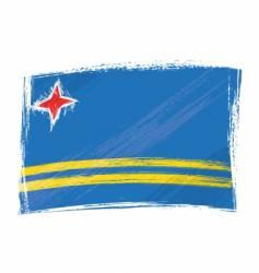 grunge aruba flag vector image