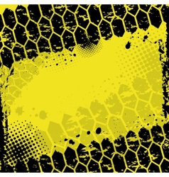 Grunge yellow tire track background vector image