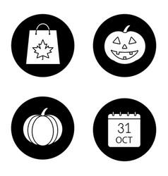 halloween glyph icons set vector image