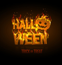 Halloween party poster with burning letters vector