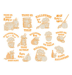 halloween witch accessories doodle set vector image