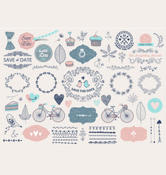 hand drawn doodle love collection vector image