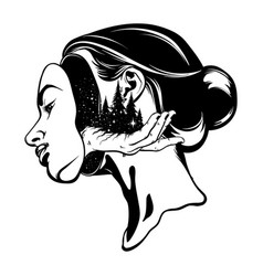 Hand drawn of young beautiful woman surreal vector