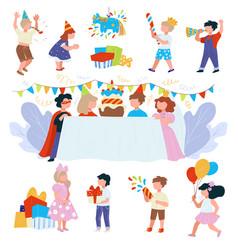 Happy birthday party for children festivity vector