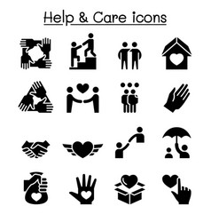 Help care friendship generous charity icon set vector