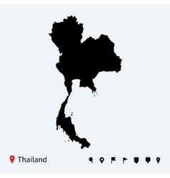 High detailed map of Thailand with navigation pins vector