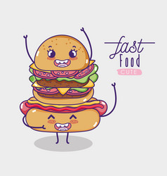 Hot dog with hamburger kawaii cartoon vector