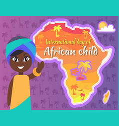 International african child day postcard with gril vector