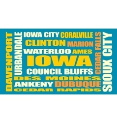 Iowa state cities list vector