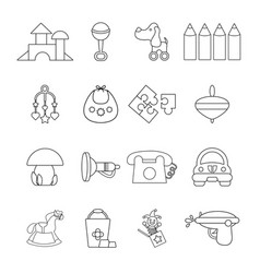 Kindergarten icons set outline style vector
