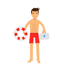 Lifeguard man character on duty holding lifebuoy vector