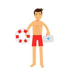 Lifeguard man character on duty holding lifebuoy vector
