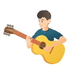 Man plays on guitar icon flat style vector