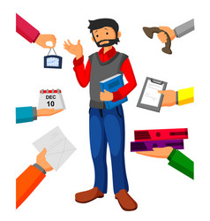 Man with book in hand has a lot of of task vector