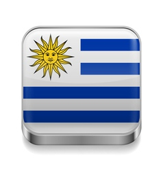 Metal icon of Uruguay vector