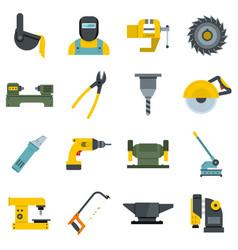 Metal working icons set flat vector