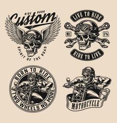 motorcycle vintage monochrome designs vector image