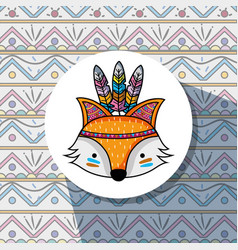Nice fox tribal animal woodland vector