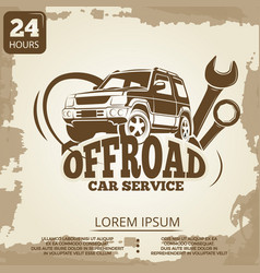 off-road car service vintage poster design vector image
