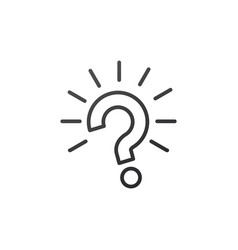 Outline question mark with rays burst icon on vector