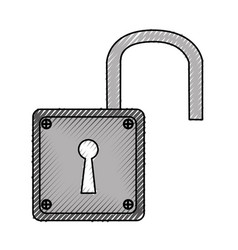Padlock unlock isolated icon vector
