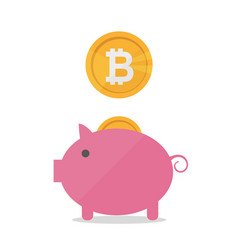 pig money box with falling bitcoins flat vector image